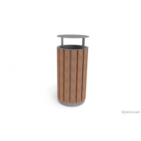Odpadkový koš Luco dřevěný kulatý