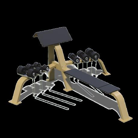Scottova lavice s bench press a jednoručkami
