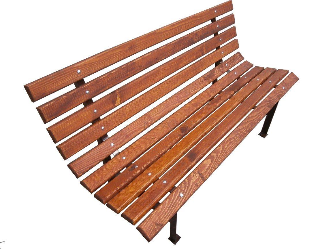 Kovová zahradní lavička Teak - hnědá komaxit